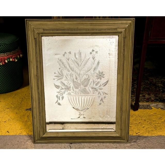 Late 20th Century Decorative Framed Floral Etching Mirror For Sale - Image 5 of 6