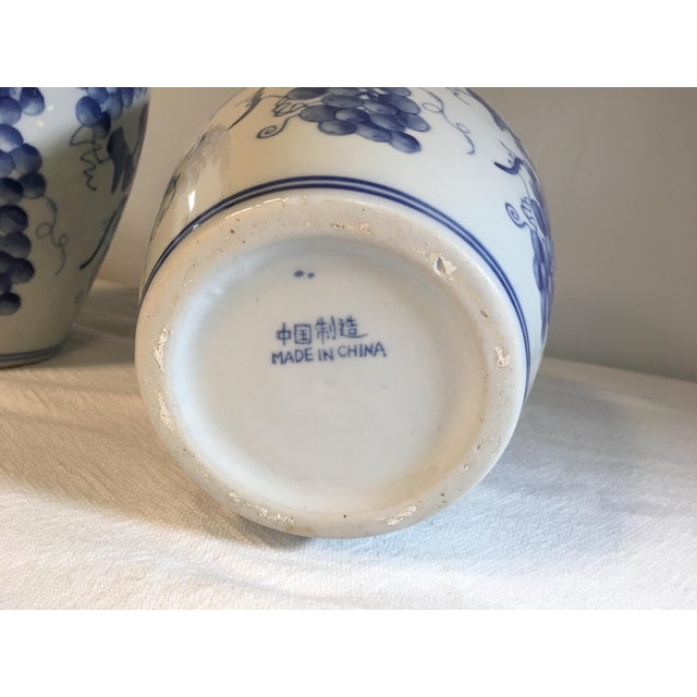 Asian Vintage Chinese Ginger Jars With Grapes Motif - a Pair For Sale - Image 3 of 5