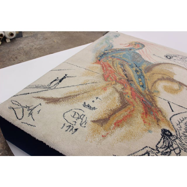 """1970s Oversized Ottoman Upholstered in Salvador Dali """"Le Grand Pavon"""" Rug For Sale - Image 5 of 7"""