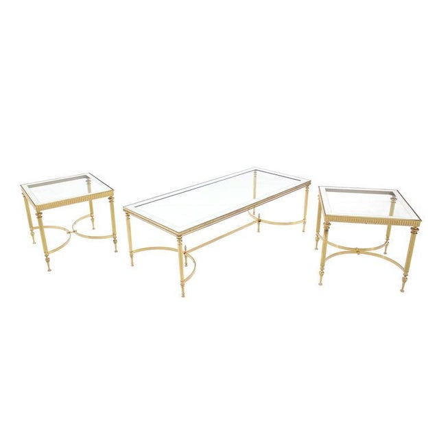 Gold Pair of Brass Mirrored Frame Glass Top End Side Tables For Sale - Image 8 of 8