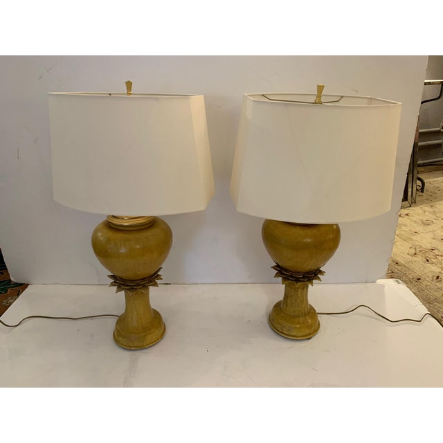 Vintage Ochre Jar Shaped Ceramic Table Lamps -A Pair For Sale - Image 13 of 13