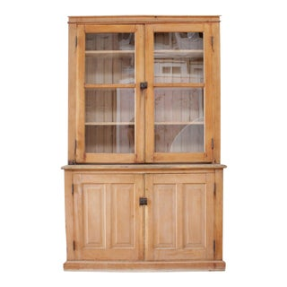 Antique Rustic Pine Wood 2 Part Cupboard For Sale