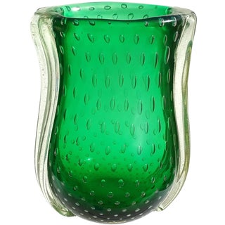 Barovier Toso Murano Green Iridescent Gold Flecks Italian Art Glass Vase For Sale