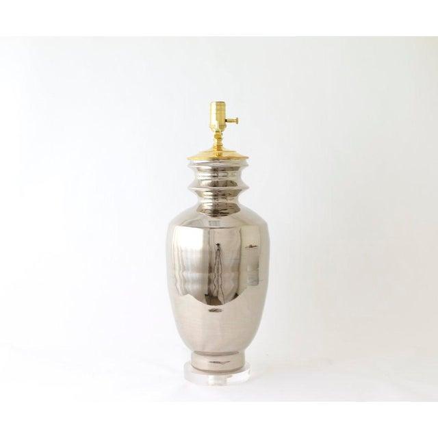 """Paul Schneider Ceramic """"Marathon"""" Lamp in Platinum Lustre Glaze For Sale In Dallas - Image 6 of 9"""