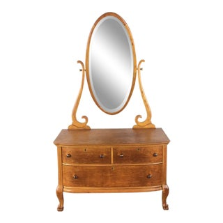 Antique Carved Maple Three Drawer Dresser With Mirror For Sale