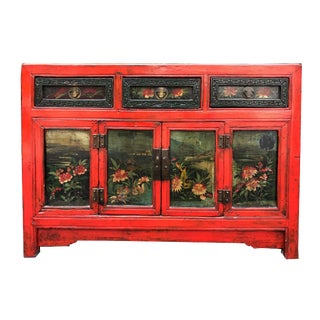 Antique Chinese Painted Cabinet W/ Floral Panels For Sale