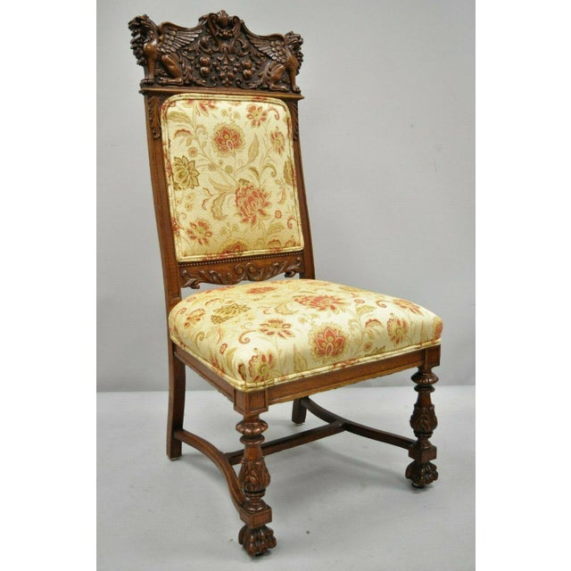 Late 19th Century Vintage Carved Oak Winged Griffin Paw Foot Dining Chairs- A Pair For Sale - Image 10 of 12