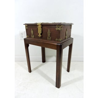 Vintage Federal Style Wood & Brass Finished Two Part Silverware Chest Preview