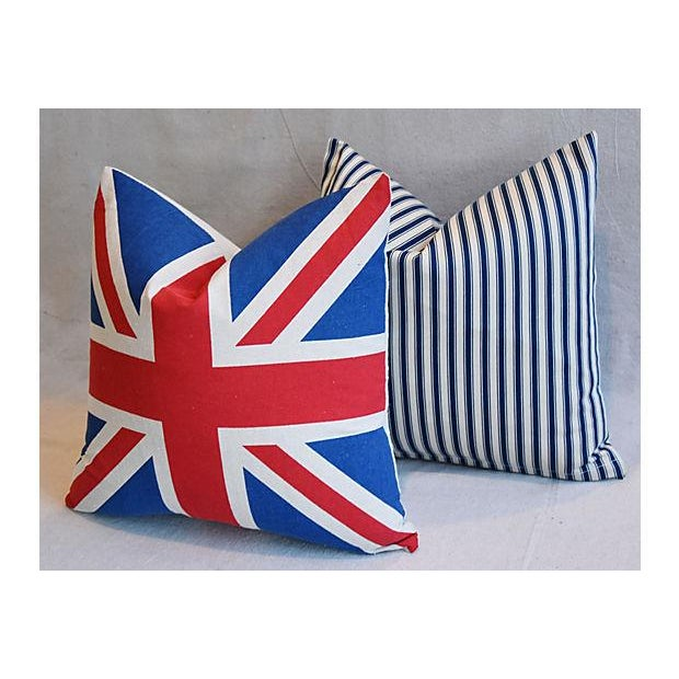 """17"""" Custom Tailored French Ticking & Union Jack Feather/Down Pillows - Set of 2 - Image 5 of 11"""