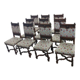 Spanish Revival Antique Wood Carved & Upholstered Chairs -Set of 10