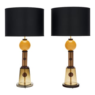 Murano Glass Geometric Caramel Lamps For Sale