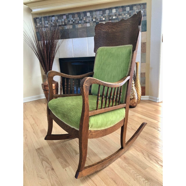 Late 19th Century Antique Oak Wood Mortise and Tenon Upholstered Rocking Chair For Sale - Image 13 of 13