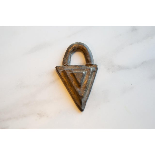 1950s Vintage African Bronze Decorative Triangle For Sale - Image 5 of 6