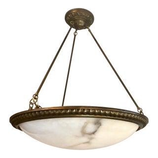 """Urban Archaeology Alabaster Bowl Hanging Light Chandelier 25"""" For Sale"""