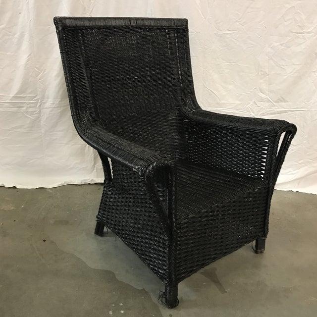 Black Wicker Armchair - Image 2 of 6
