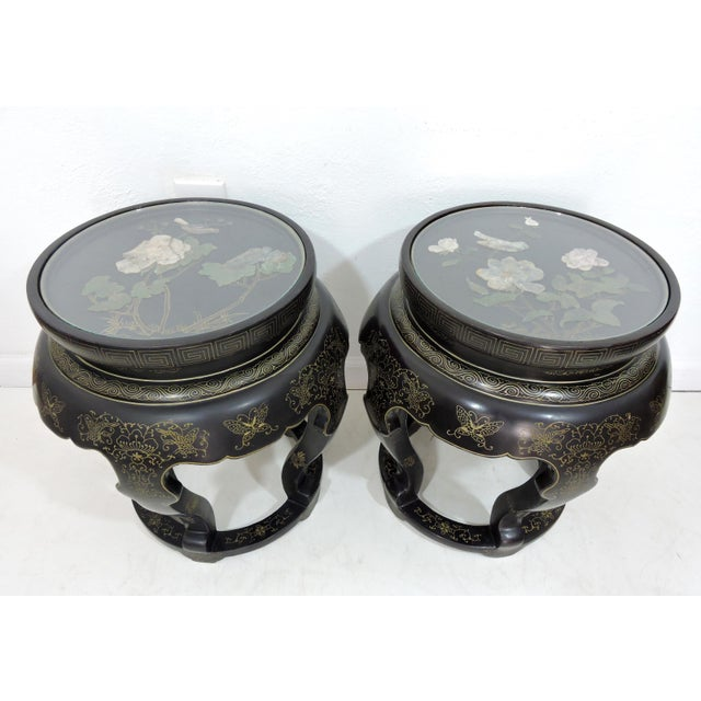 Asian Vintage Chinese Mother of Pearl & Soapstone Black Lacquer Garden Stools/Side Tables - a Pair For Sale - Image 3 of 9