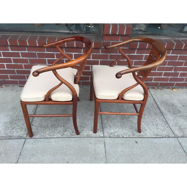 1990s Chinese Rosewood Horshoe Chairs a Pair For Sale - Image 5 of 7