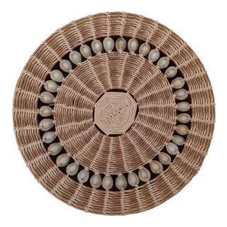 1960s Boho Chic Cowrie Shell Round Storage Box For Sale