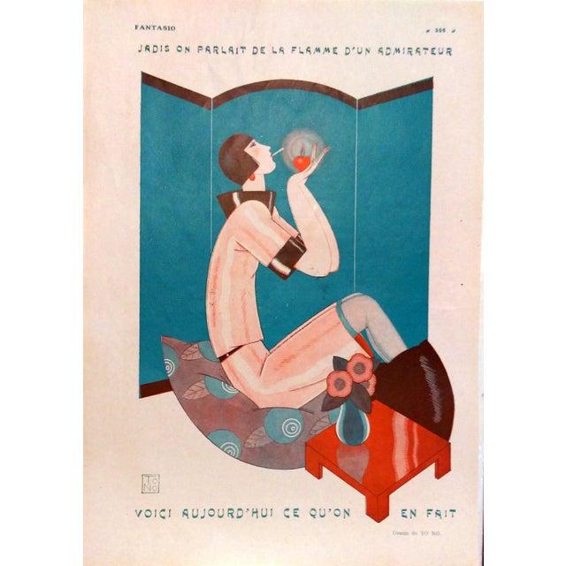 "1924 Fantasio ""Art Deco Smoker"" Print by To No - Image 1 of 5"