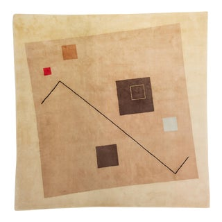 1980s Hand-Tufted Square Area Rug by Tisca For Sale
