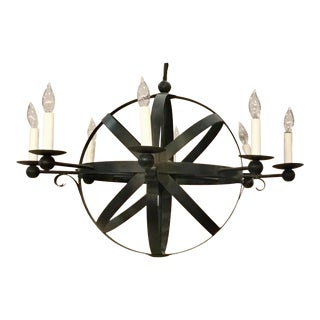 Currey & Co. Industrial Modern Iron Armillary Sphere Chandelier For Sale
