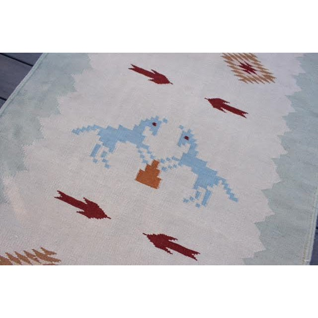 "Vintage Boho Chic Flat Weave Rug - 3'1"" x 5'4"" - Image 4 of 8"