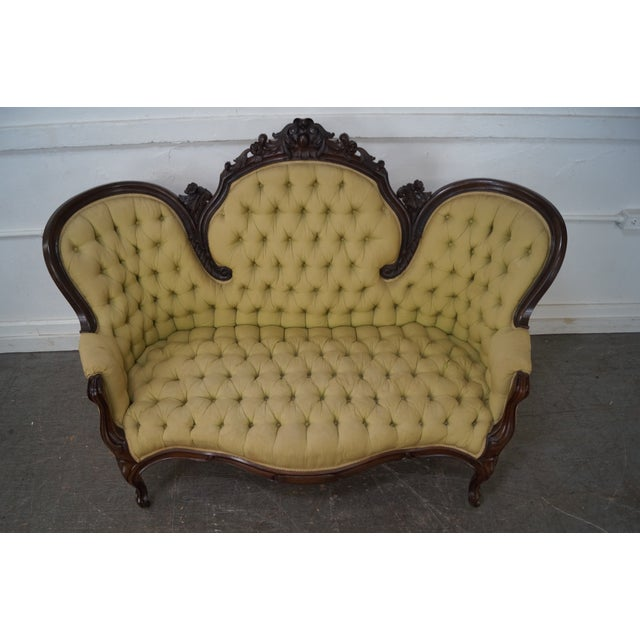 Antique 19th Century Victorian Carved Rosewood Settee Loveseat For Sale - Image 5 of 10
