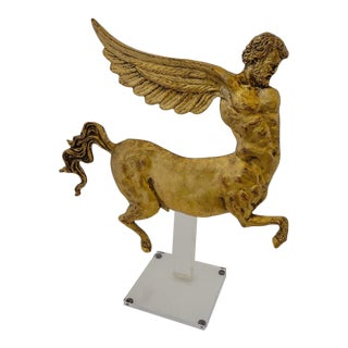 Lucite Stand With Antique Neoclassic Revival Winged AlaCentaur Figure Gold Leaf For Sale