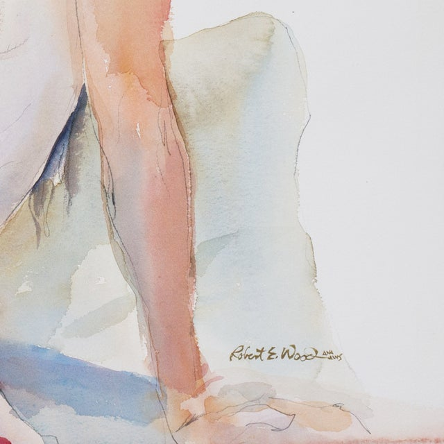 """Seated Nude"" Watercolor Painting, Robert E. Wood - Image 4 of 5"