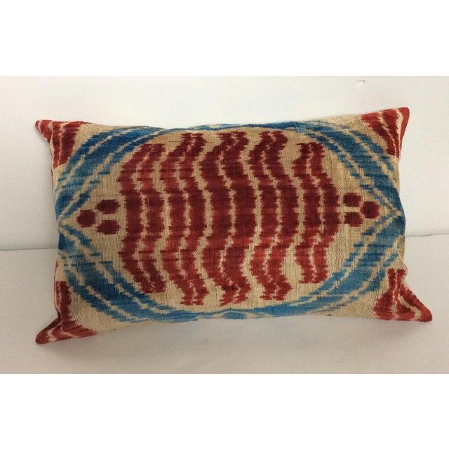 Handloomed Silk Velvet Ikat Pillow - Image 2 of 4