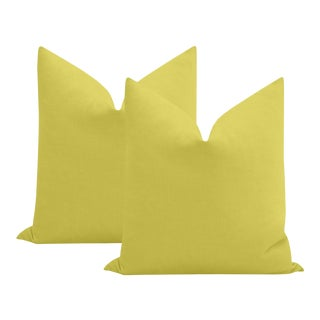 """22"""" Chartreuse Performance Linen Pillows - a Pair For Sale"""
