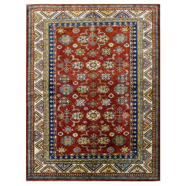 Afghan Super Kazak Rug - 5'9'' x 7'9'' For Sale - Image 4 of 4