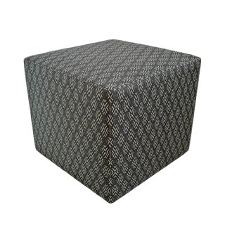 Mali Print Upholstered Cube Stool For Sale