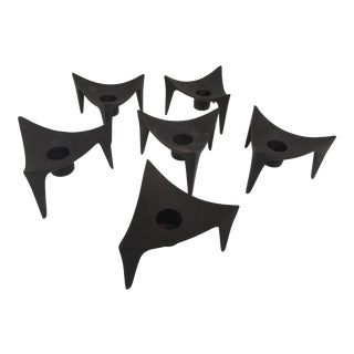 Dansk Iron Triangle Candle Holders - Set of Six For Sale