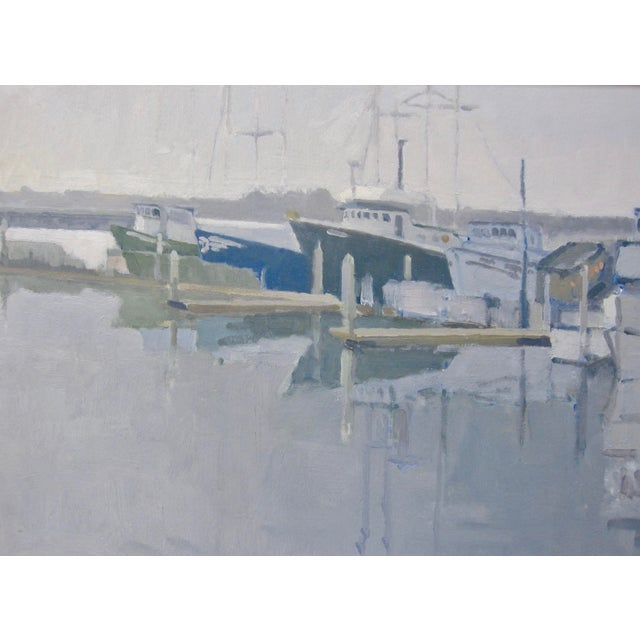 Paul Strahm Contemporary Boat Harbor Docks California Seascape Oil Painting For Sale - Image 4 of 5