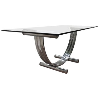 Mid-Century Modern Romeo Rega Chrome, Brass and Glass Dining Table For Sale