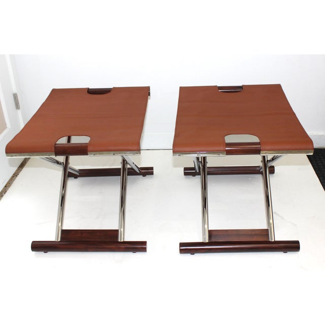 Vintage Folding X-Sling Stools in Leather, Stainless Steel and Mahogany a Pair For Sale In West Palm - Image 6 of 13