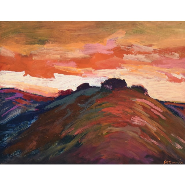 "Impressionist Santa Barbara sunset painting on Masonite by California artist Juan ""Pepe"" Guzman-Maldonado (Chile b.1948)..."