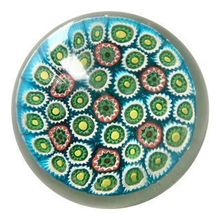 Vintage Murano Glass Paperweight-Millefiori For Sale