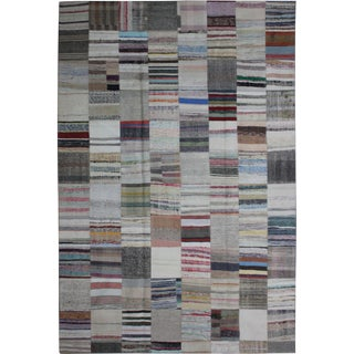 "Hand Knotted Patchwork Rug by Aara Rugs Inc. - 11'5"" X 8'1"" For Sale"