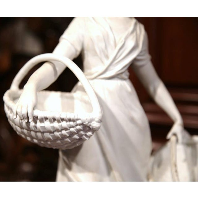 Ceramic 19th Century French Woman Holding Wicker Baskets Biscuit Porcelain Sculpture For Sale - Image 7 of 9