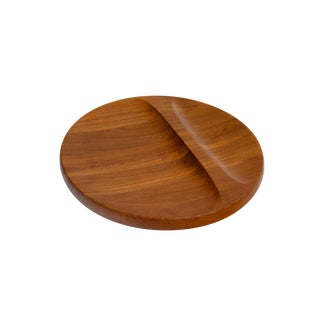 Round Sculpted Solid Teak Tray by Nissen For Sale