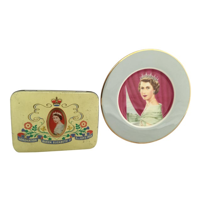 Coronation of Queen Elizabeth II Decorative Objects - a Pair For Sale