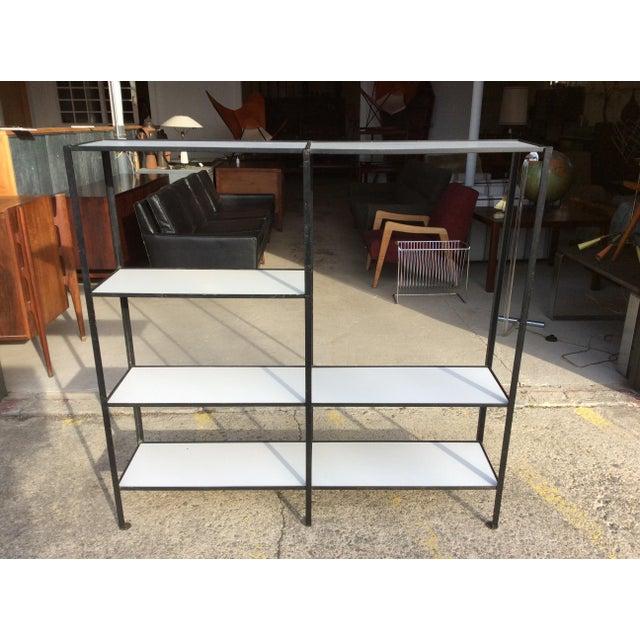 Frederick Weinberg Style Wrought Iron Masonite Bookcase For Sale - Image 5 of 9