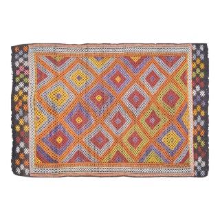 "Vintage Turkish Anatolian Hand Made Organic Wool Tribal Kilim,5'2""x7'9"" For Sale"
