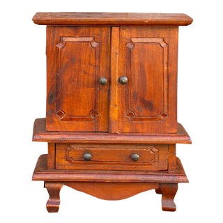 Charming 20th Century Miniature Jewelry Armoire For Sale