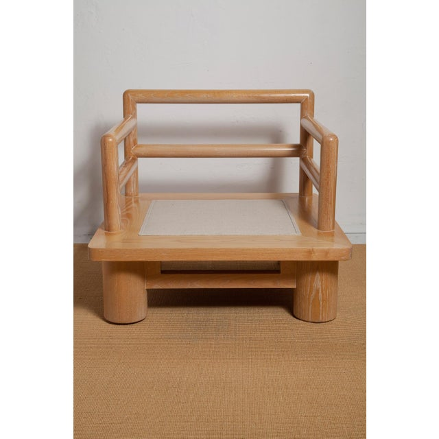 Brown Pair of Karl Springer Cerused Oak Dowelwood Chairs For Sale - Image 8 of 13