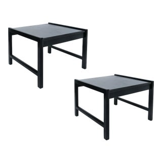 1970s Mid-Century Erwin Lambeth Ebonized Side Tables-A Pair For Sale