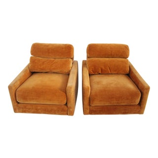 1970s Mid-Century Modern Orange Velvet Lounge Chairs - a Pair
