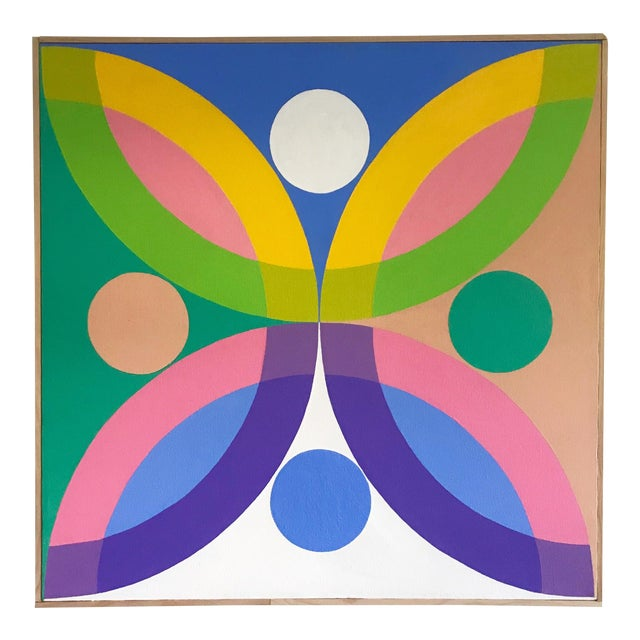 J. Marquis Hard Edge Abstract Framed Canvas Painting For Sale